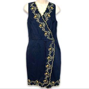 Eshakti Faux Wrap Embroidered Navy Blue Dress